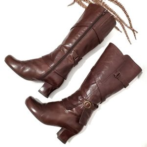 Miz Mooz Brown Leather Mid-calf Jewel Boots